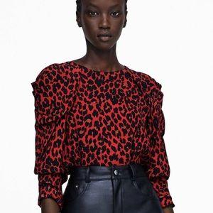 Draped Animal Print Red Black Blouse by Zara